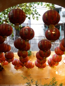 Chinese lanterns at entrance to a temple in Hanoi